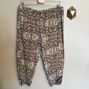 Lilka Anthropologie Printed Crop Pants Lace Hem L